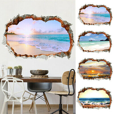 Art Landscape Beach Sunset DIY Painting 3D Wall Sticker Room PVC Decal Removable