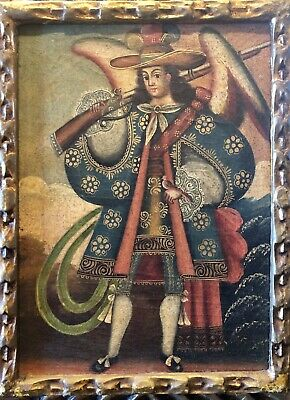 "Cuzco School Angel Arcabucero Spanish Colonial Religious 13 1/2 X 10"" Framed 19c"