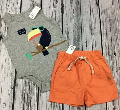 Baby Gap Boys 3-6 Month Toucan Shirt & Orange Shorts Cotton Outfit. Nwt