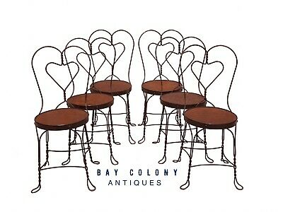 20Th C Antique Set Of 6 Wrought Iron Heart Back Ice Cream Parlor Chairs
