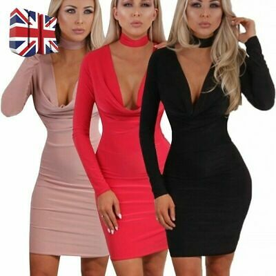 UK Womens Dresses Deep V-neck Long Sleeve Solid Bodycon Low Cut Slim Party Dress