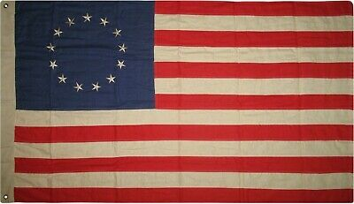 Vintage Betsy Ross Flag 3x5 ft Cotton Tea-stained Antiqued Grommets & Sleeve