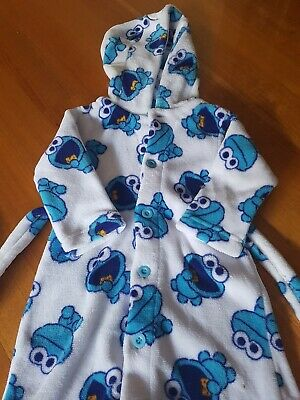 Boy's Licensced Sesame Street Cookie Monster Dressing Gown - Size 2