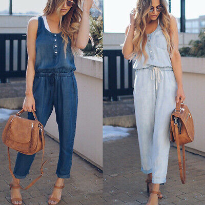 AU Women Casual Sleeveless Jumpsuit Jeans Denim Rompers Overalls Trousers Pants