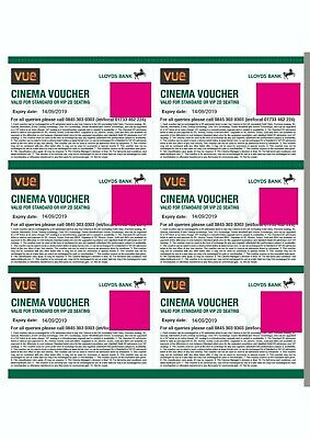 6 x VUE Cinema Vouchers, valid at any VUE cinema in the UK