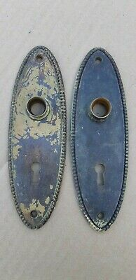 Set Of 2 Rare Antique Cast Iron Door Knob Back Plates