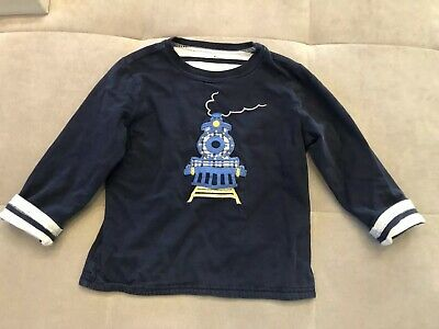 Janie And Jack Reversible Shirt Size 2-3 Blue Train White Toddler Warm Soft