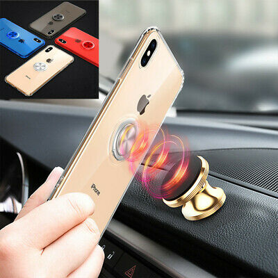 For Apple iPhone Xs Max XR 7 8 Plus 6s Clear Soft Rubber Ring Holder Case Cover