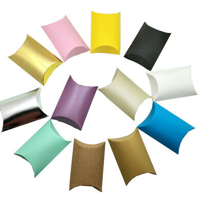 Foldable Colorful Kraft Paper Pillow Boxes Wedding Party Candy Jewelry Storage