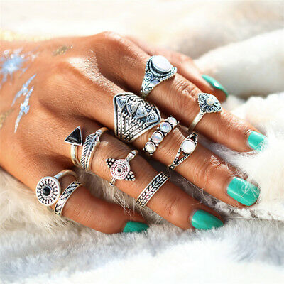 10pcs Female's Retro Tribal Ethnic Hippie Joint Punk Knuckle Ring Trendy FW