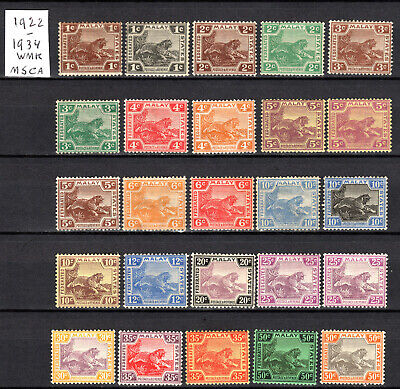 Malaya Straits Settlements 1922-1934 Fms Selection Of Mlh Tigers Stamps