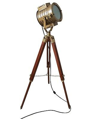 Antique Brass Finish Floor Standing LED Searchlight with Adjustable Tripod Lamp