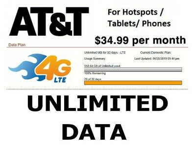 AT&T 4G LTE Data Plan NO throttling, ultra fast speeds $34.99 Month Fast service