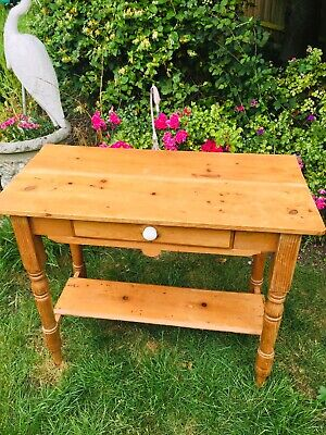 Victorian Pine Console Hall Table With Drawer And Shelf And Ceramic Knob.
