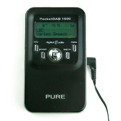 Pure DAB PocketDAB 1500 Pocket Black Portable Radio FM