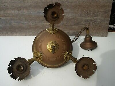 Antique 3 Light Brass Ceiling Hanging Light Fixture Art Deco Victorian