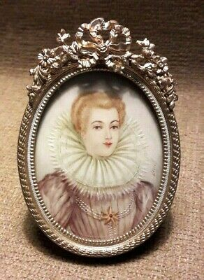 Antique french miniature painting portrait signed bronze frame