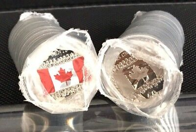 1 CANADA 2015 FLAG ROLL OF 25 Cents Coins Mint