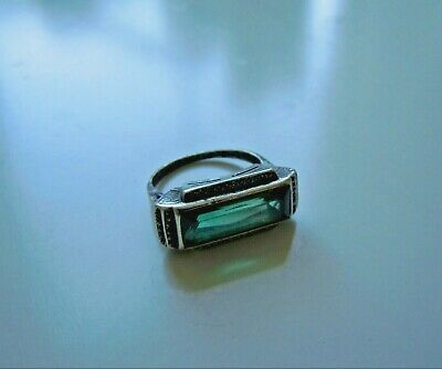 Rare imper. RUSSIAN 84 Silver RING with Crystal, Faberge design 1914-17th