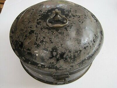 "Antique Georgian Large Spice Tin With Hinged Lid - 6 Sections 9"" Diameter"