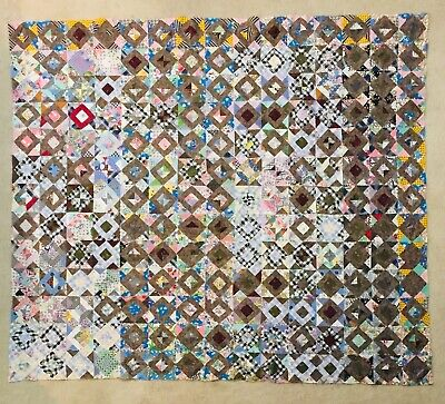 """Vintage Feed Flour Sack Hand Quilted SQUARE WITHIN A SQUARE Quilt TOP 76""""x87"""""""