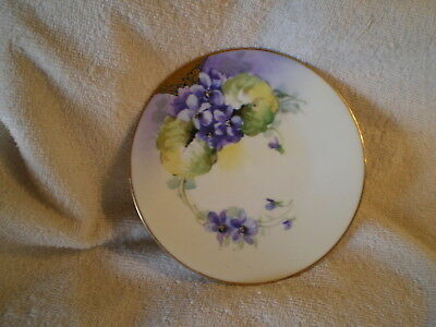 "Uno ""Favorite"" Bavarian Plate, Hand Painted Pansies with Gold Leaf"