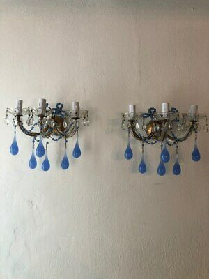 ~c 1920 French Periwinkle Murano Opaline Drops & Beads Sconces~