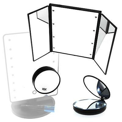 Folding Cosmetic Mirror LED Ring Lights Travel Compact Stand Stick On Suction