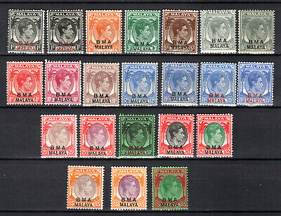 Malaya Singapore Straits Settlements 1945 Kgvi Bma Selection Of Mh Stamps M/M