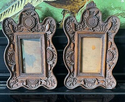Fine Pair Of Victorian Walnut Carved Small Picture Frames