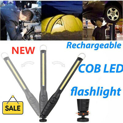 LED COB USB Rechargeable Magnetic Torch Inspection Lamp Cordless Work Light UK