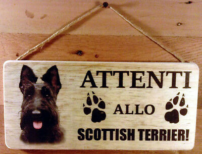 Cartello legno ATTENTI AL CANE SCOTTISH TERRIER cm. 13x28  Resistente acqua
