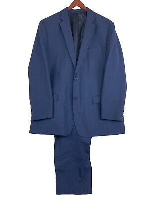 Michael Kors Blue Plaid Rayon Polyester 2 Button Suit Blazer Sports Coat Sz 46L