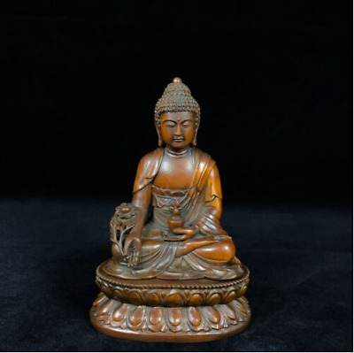 China old antique Boxwood wooden handcarved Medicine Buddha statue