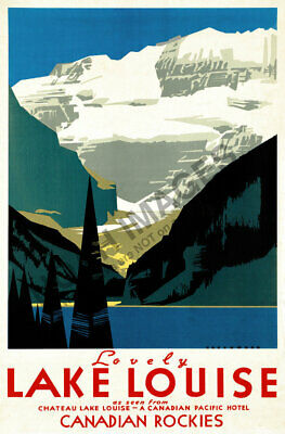 Lake Louise VINTAGE TRAVEL POSTER Norman Fraser Canada 1938 24X36 Prized Rare