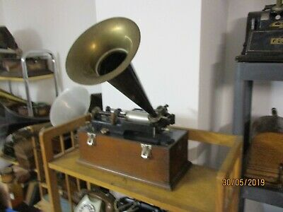 A  original Edison suitcase Home  cylinder phonograph with old horn