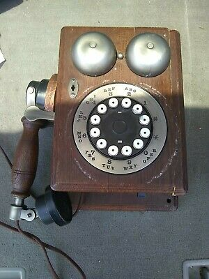 VINTAGE WESTERN ELECTRIC BELL WOOD WALL COUNTRY PHONE TELEPHONE Push Button