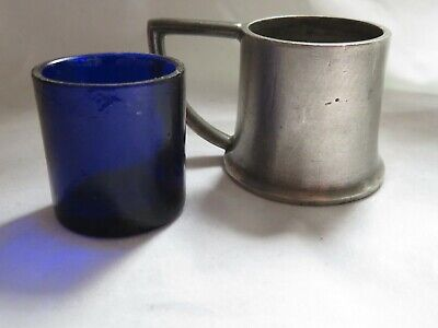 Pewter Tankard Design Mustard Pot Blue Glass Liner Vintage 1.5 Inch Tall Vgc