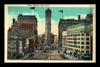 Us Postcard Times Square Historic City Scene New York Cable Cars