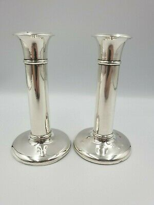 Antique Solid Silver Column Candlesticks William Hutton & Sons Birmingham  1905