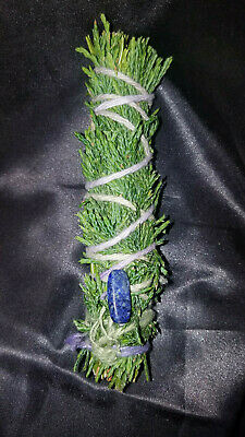 "Cedar and Rosemary with LAPIS Incense Smudge Stick 4-5"",  Magical Blessed Reiki!"
