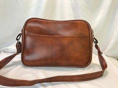 Scovill Vintage Leather Duffle Traveling Shoulder Bag Luggage Brown 10x8x3