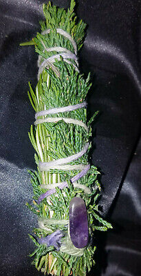 """Cedar and Rosemary with AMETHYST Incense Smudge Stick 4-5"""" Blessed Magic, Reiki!"""