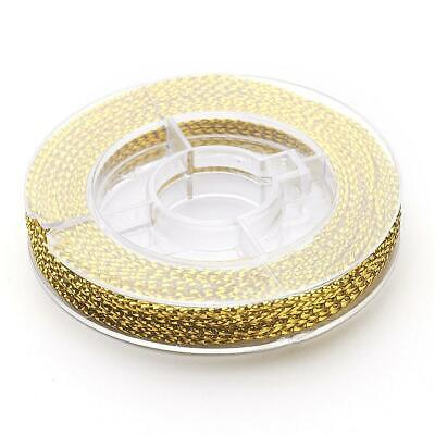 Gold Metallic Thread Braided Beading Wire 0.6mm 10m Roll for jewellery sewing