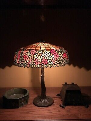 Handel Arts Crafts Mission Leaded Slag Glass Antique Bradley Hubbard Era Lamp