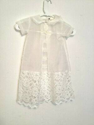 Infant Christening Baptism Dress Gown Smock Semi Sheer White Lace Trim Baby Doll