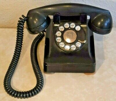 Western Electric 302 Wired + Working Rotary Dial Desk Set Retro Black Telephone