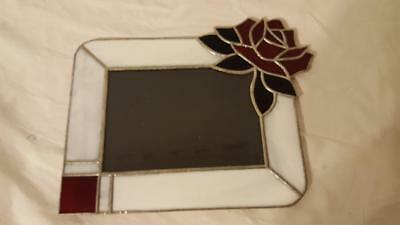 "Vintage Stained Glass Red Rose Flower Picture Frame, 11X8.5"", 5X7""Photo, Leaded"