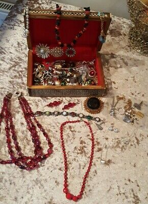 Job lot vintage Mixed jewellery in mother of pearl box earrings necklaces brooch