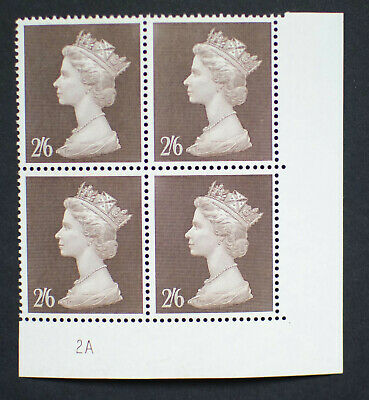 GB QEII 1969 2/6 Brown Machin High Value. Plate Block of 4 Plate 2A MNH.